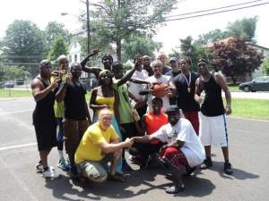 James Holmes hosted a community basketball tournament at Maple Avenue Park in South Bound Brook on July 20. Holmes, a member of the Municipal Alliance and a candidate for Borough Council in November, organized the event as a community outreach project. Participants are pictured here. / Photo Courtesy James Holmes